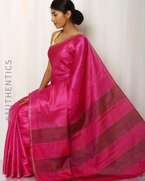 Handwoven Pure Tussar Ghicha Silk Saree