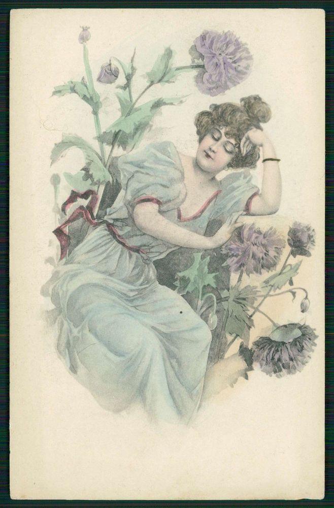Art Nouveau Edwardian Lady with Flowers original old 1900s postcard Vienne type