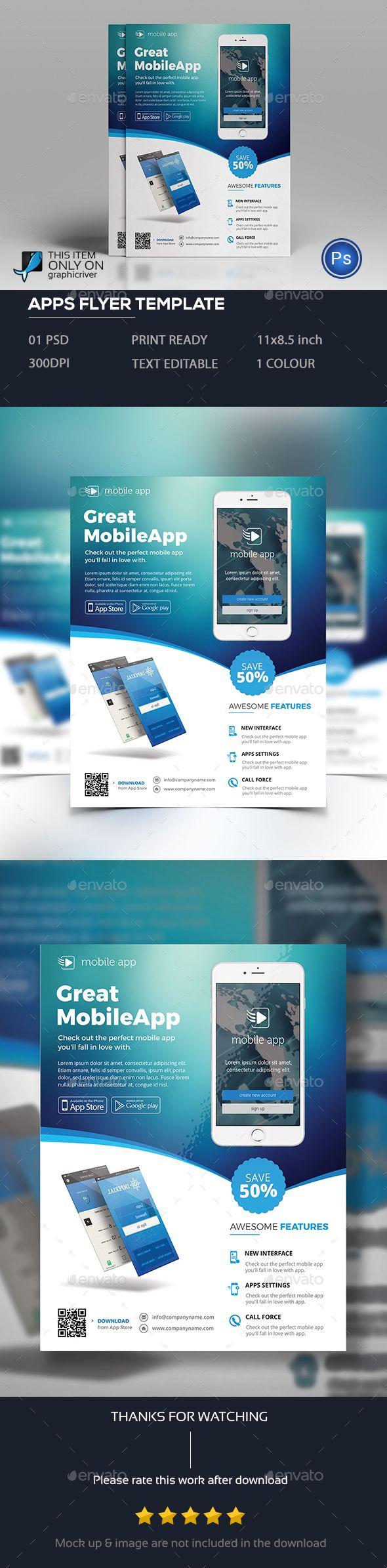 Apps Flyer Template PSD. Download here: http://graphicriver.net/item/apps-flyer/15930295?ref=ksioks