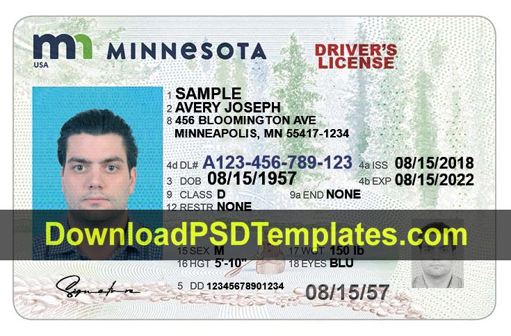 Minnesota Drivers License Template New Mn Editable Psd In 2020