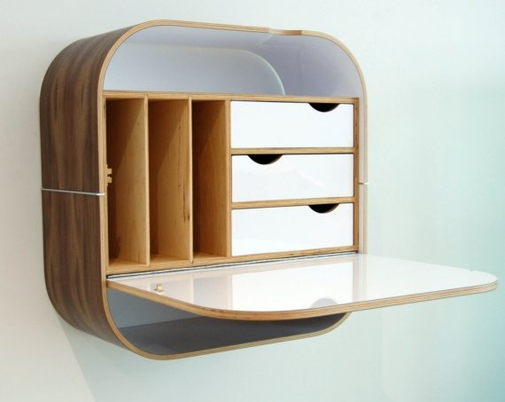 Desk, wall mounted.