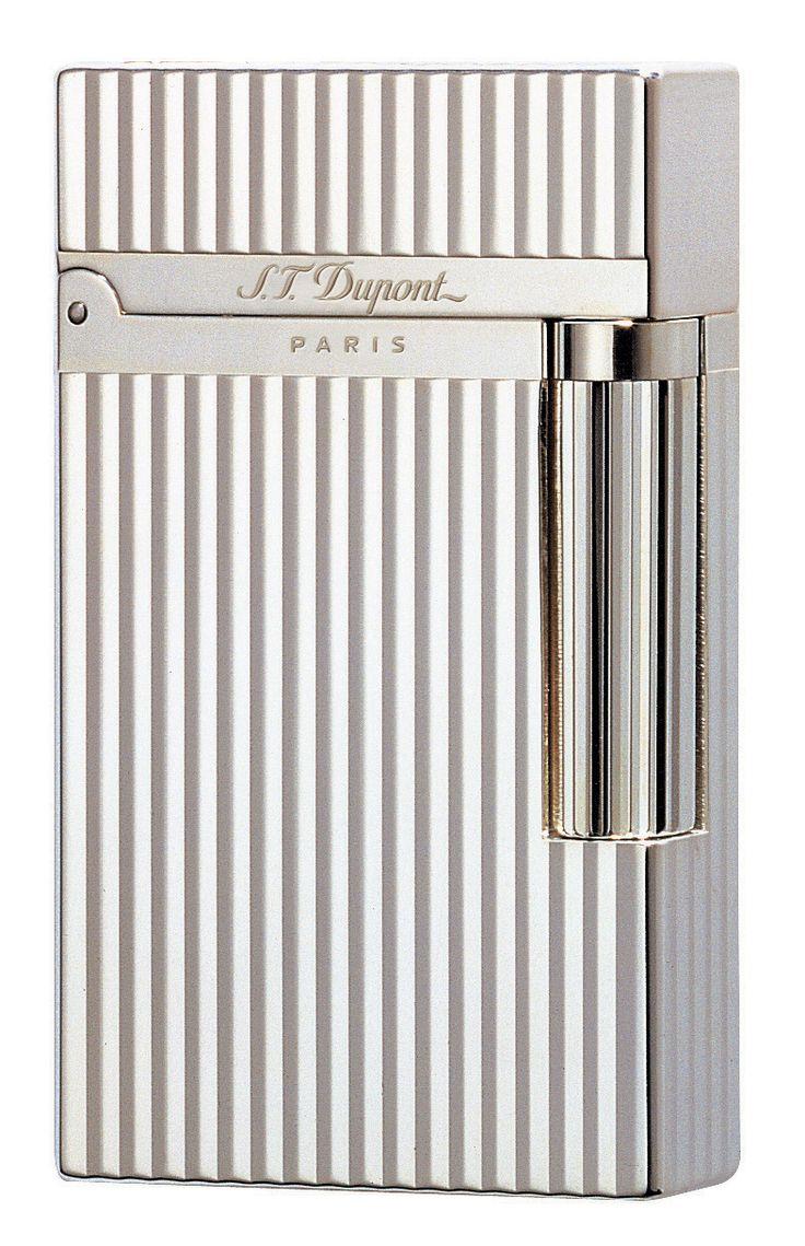 S.T. Dupont Ligne 2 Lighter - Model #: 016817 - Montparnasse Pattern - Silver Finish