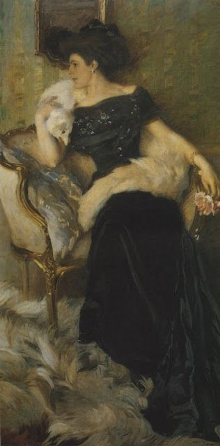 ▴ Artistic Accessories ▴ clothes, jewelry, hats in art - Ettore Tito | La Signora Pellegrini, 1910
