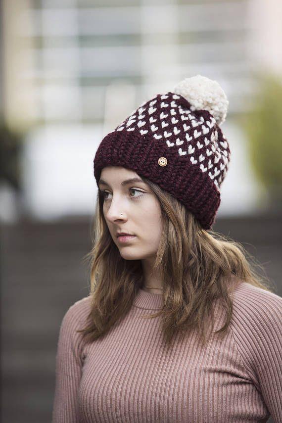 Burgundy Wine Polka Dot Pom Pom Hand Knit Hat