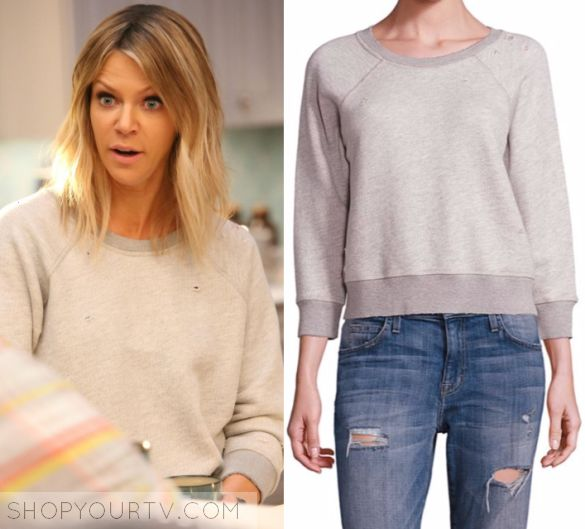 """The Mick 1x15 -Mackenzie """"Mickey"""" Murphy (Kaitlin Olson) wears this grey sweatshirt with distressed detail in this episode of The Mick, """"The Sleepover"""". It is the n:Philanthropy Gayla Distressed Sweatshirt."""