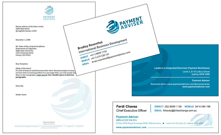 Payment Adviser Stationary Letterhead Business Cards Email Signature by Creative Clarity