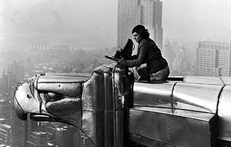 Margaret Bourke White, On one of the gargoyles of the Chrysler BLdg. (I think)