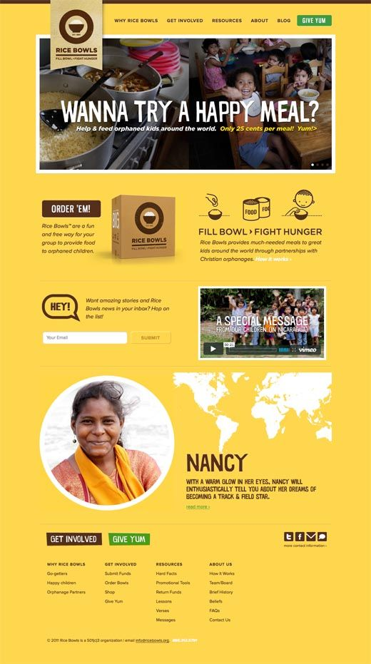 From The Ground:   Rice Bowls charity website design – Fill Bowls, Fight Hunger