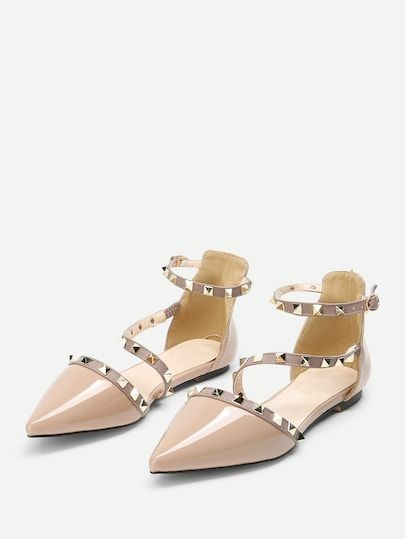 3205e2fc3a8eb Pointed Toe Studded Decor Flats -SheIn(Sheinside)