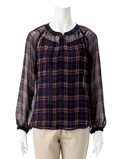 チェック柄シフォンブラウス(ネイビーブルー系)| レディースファッション通販サイトFABIA(ファビア)