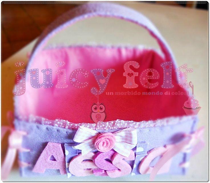 Set fiocco nascita e cestino portaconfetti per Alessia