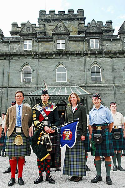 THE Duke and Duchess of Argyll presented a bagpipe banner to the Royal Regiment of Scotland during Inveraray Highland Games.