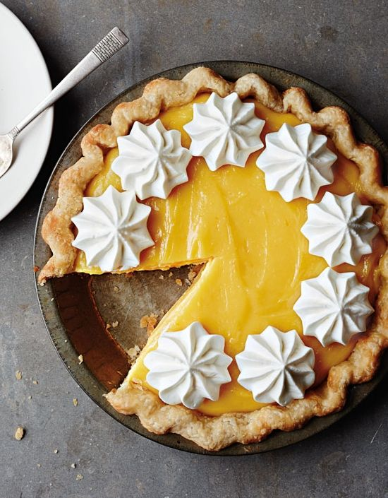 Grapefruit Curd Pie with Basil Whipped Cream | Fresh, citrusy grapefruit and fragrant basil shine in this unusual but delicious pie.