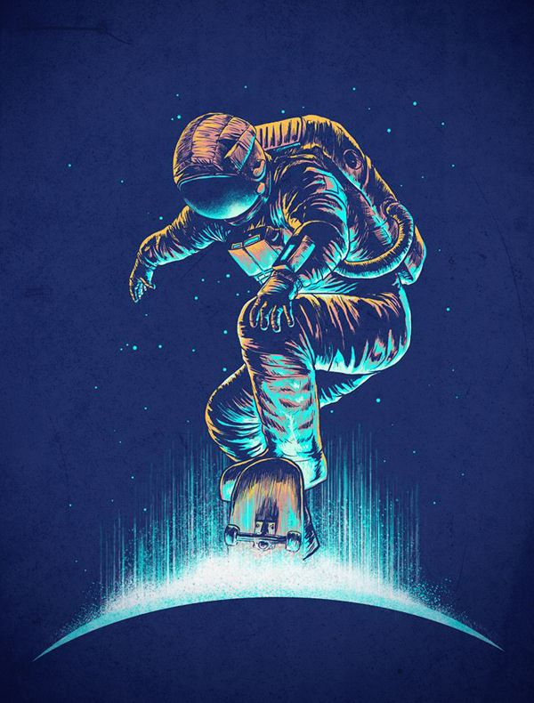 Space Grind by DIGITAL ORGASM, via Behance  estampa de camiseta/pôster
