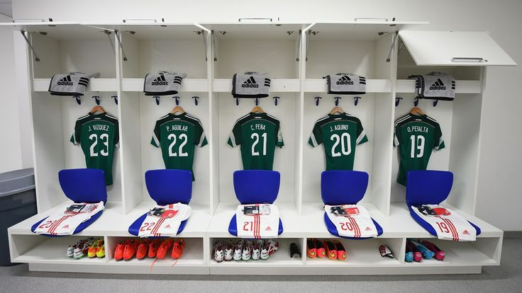 ATAL, BRAZIL - JUNE 13: Mexico shirts hang in the dressing room ahead of the 2014 FIFA World Cup Brazil Group A match between Mexico and Cameroon at Estadio das Dunas on June 13, 2014 in Natal, Brazil. (Photo by Shaun Botterill - FIFA/FIFA via Getty Images)