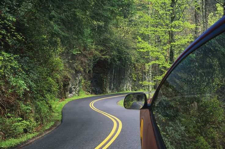 Car driving on a road through the Smoky Mountains