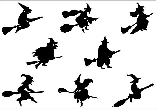 Halloween witch flying on a broomstick Vector Graphics #Silhouette  #ClipArt #Vector