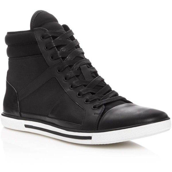 Kenneth Cole Up-Side Down High Top Sneakers ($160) ❤ liked on Polyvore featuring men's fashion, men's shoes, men's sneakers, black, mens black sneakers, mens high top sneakers, mens high top shoes, mens black hi top sneakers and mens black high top sneakers