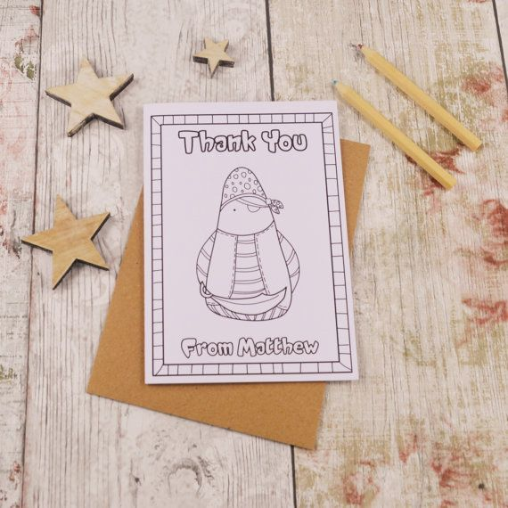 Pirate Colouring in Thank You Card Children's by MakeWithMum