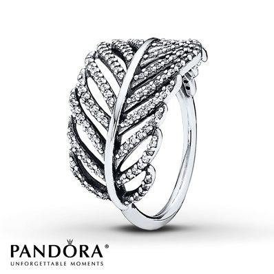 Sparkling clear cubic zirconias trace a feather pattern in this sterling silver ring from the Pandora Fall 2013 Jewelry collection. The ring is available only in size 7 (European size 54). Additional sizes may be available through special order at your nearest Jared location. Style # 190886CZ-54.