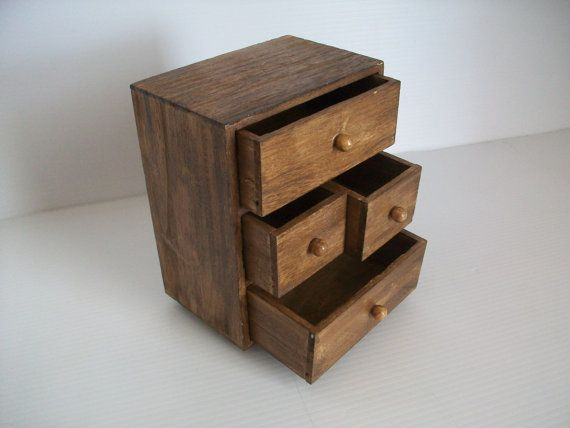 vintage wooden chest of drawers . small wooden desk by GTDesigns