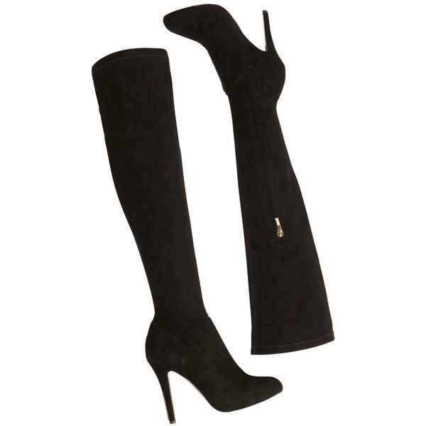 Karen Millen Signature Over the Knee Sock Boots ($390) ❤ liked on Polyvore featuring shoes, boots, over-knee boots, flat leather boots, over the knee boots, over-the-knee high-heel boots and high heel boots