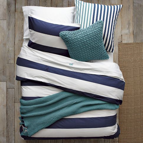 Nautical summer bedding.: Westelm, Colors Trends, Colors Combos, Stripes Beds, Navy Stripes, Duvet Covers, Layered Beds, Guest Rooms, West Elm Beds