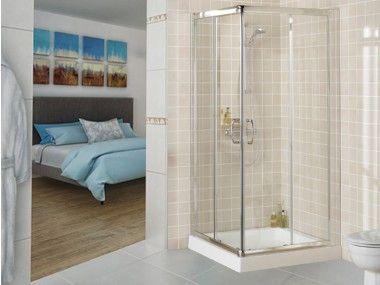 Crystal Tech - Chrome Corner Entry Shower Enclosure CTG301