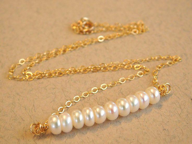 Pearl Necklace, Birthstone Necklace, Pearl Bar Necklace,Minimal Pearl Necklace, Minimal Necklace by jljewellerydesign on Etsy