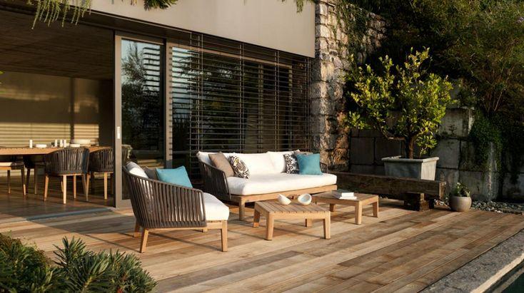 - houten terras - zwemvijver - natuursteen buitenmuur