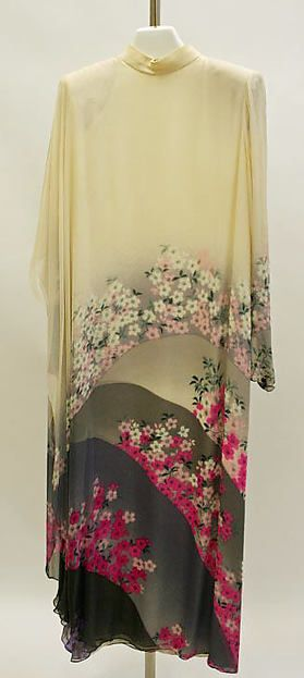 """Hanae Mori (Japanese, born 1926). Evening dress, spring/summer 1983. Japanese culture. The Metropolitan Museum of Art, New York. Gift of Mary Griggs Burke, 1996 (1996.130.3)   This work is exhibited in the """"Celebrating the Arts of Japan: The Mary Griggs Burke Collection"""" exhibition, on view through January 22, 2017 #AsianArt100"""