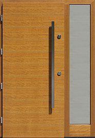 Drzwi zewnętrzne z doświetlem dostawką boczną model  431,1 w kolorze jasny dab