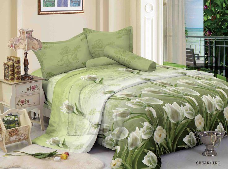 "SHEARLING - ""Shearling, design bunga tulip bernuansa hijau soft, sang at lembut serta mewah untuk memberi kesan luxury ada kamar anda"""