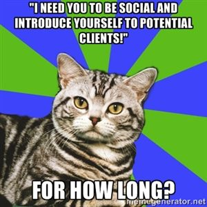 """Introvert Cat: """"I need you to be social and introduce yourself to potential clients."""" FOR HOW LONG??"""