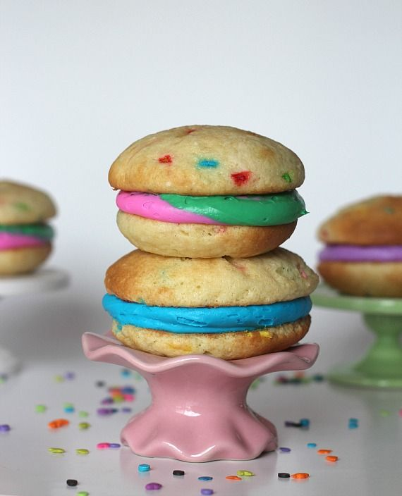 Funfetti Whoopie Pies | Cookies and Cups  I would use the Wilton Whoopie Pie pan and a scratch recipe but the idea is so cute!