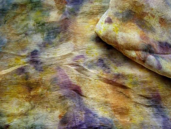 SCARF COTTON  MULTICOLORED-  crepe , transparent ,eco dyeing, hand made, eco printing, modern, unique, new, ready to ship by EcoDyeing on Etsy