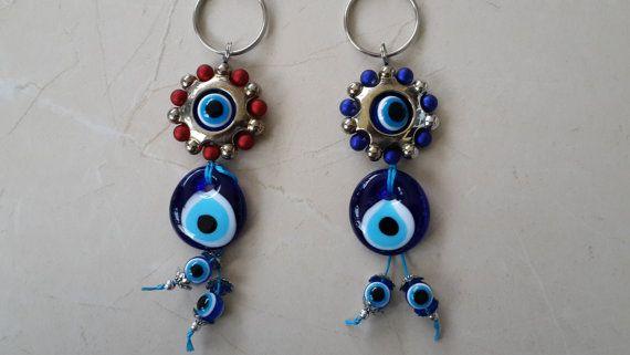 Evil Eye Key Chain Handmade Turkish glass key by Myowncoffee