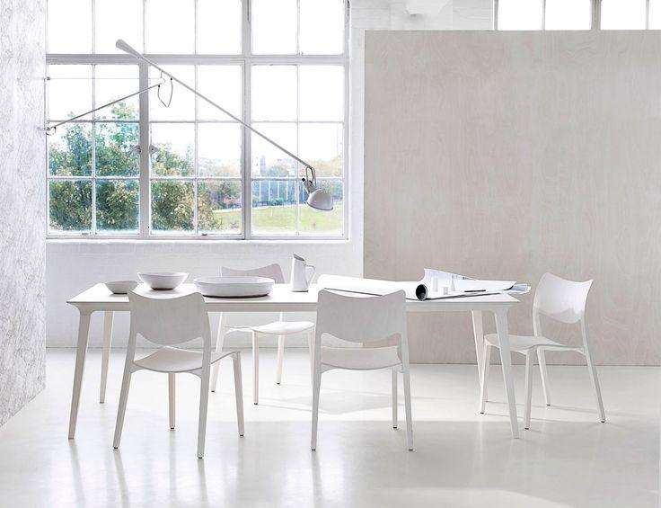 All white STUA Laclasica chair and Lau table seen by our partner in London: Heal's. LACLASICA: www.stua.com/eng/coleccion/laclasica.html LAU: www.stua.com/eng/coleccion/lau-wood-table.html In the UK: www.heals.com/catalogsearch/result/?q=stua In the USA: www.dwr.com/stua