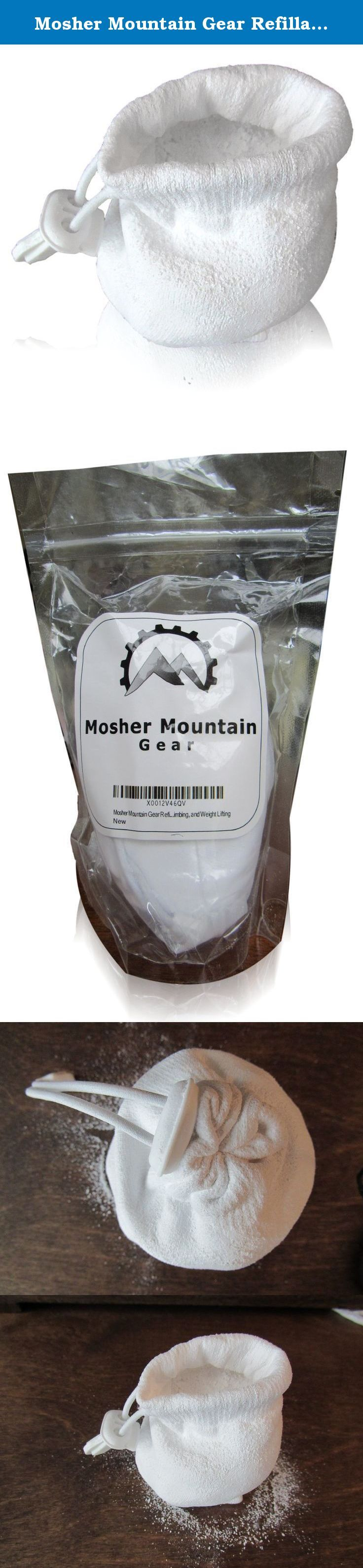 Mosher Mountain Gear Refillable Chalk Ball for Gymnastics, Climbing, CrossFit and Weight Lifting. 100% pure Magnesium Carbonate Chalk Ball (Powdered chalk in a cotton sack) - NO hidden components, simple and well made. Greatly improves grip for gymnastics, rock climbing, bouldering, weight lifting, etc Less messy and lasts longer than powdered or block chalk - no more spilled chalk Save money- refill chalk with chalk from Mosher Mountain Gear or elsewhere with an easily opening cinch Get...