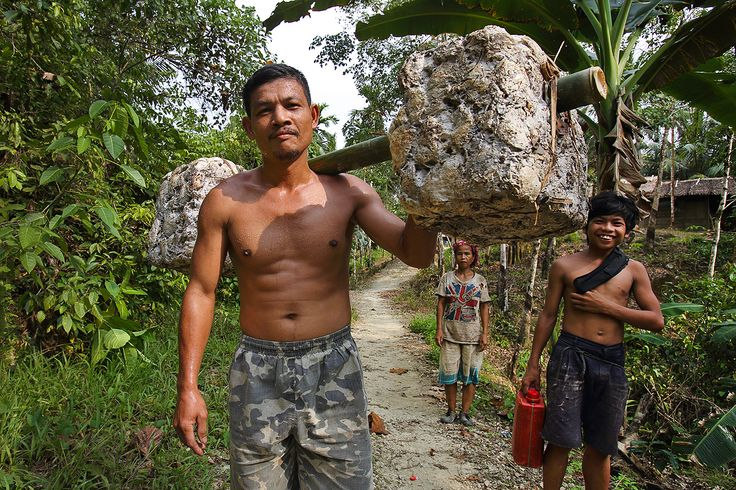 Many farmers on Nias are rubber tappers. This man carries 30 kilos of raw rubber from his village to the buyer once a week. North Nias Regency, Nias Island, Indonesia. Photo by Bjorn Svensson. www.northniastourism.com