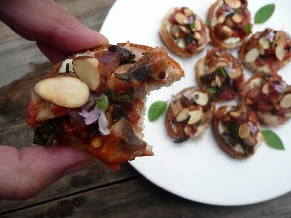 Pan Seared Basil Mushroom Bruschetta with Rosemary Cream