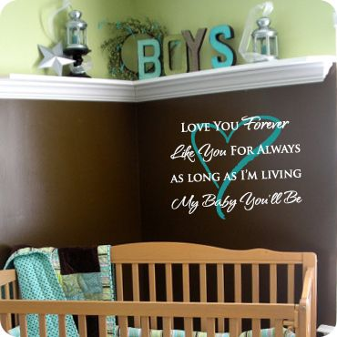 decal for baby room: Color, Boys Rooms, Love You Forever, Shelf Ideas, Favorite Books, Baby Rooms, Corner Shelves, Nurseries Ideas, Rooms Kids