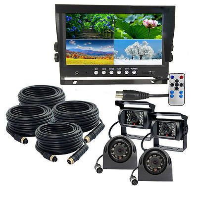 """9"""" Quad Monitor Backup Cameras SAFETY SYSTEM FOR TRUCK TRAILER RV"""