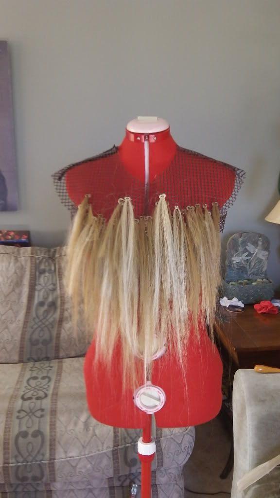 Aslan fur/White Witch's Battle caplet, using fake hair segments
