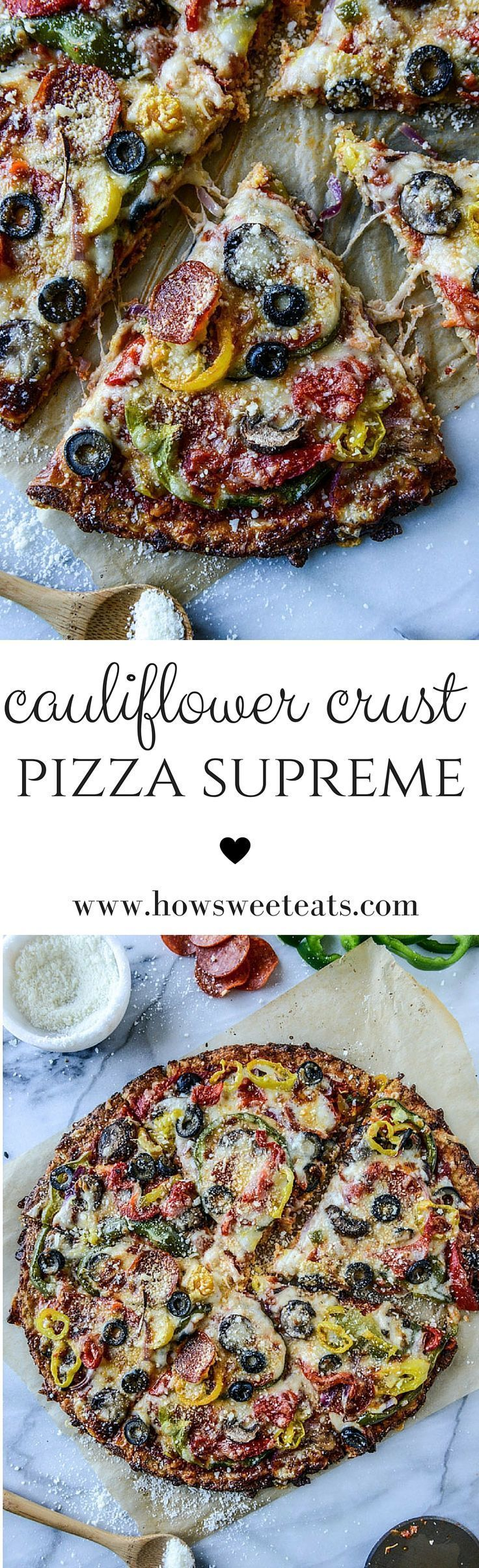 Pizza Supreme on Cauliflower Crust by @howsweeteats I howsweeteats.com