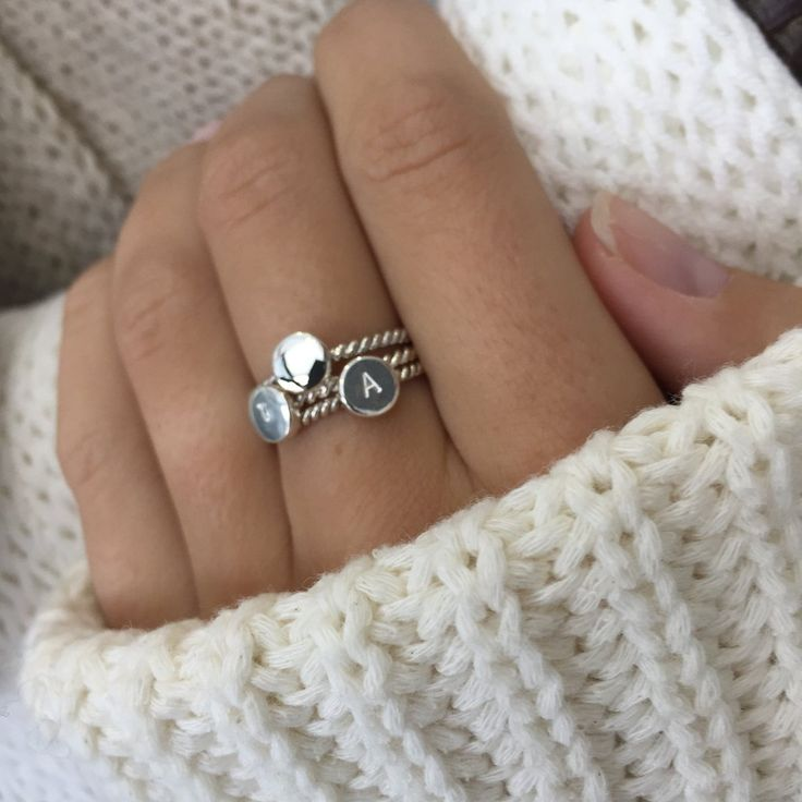 Sometimes the smallest of things, hold the greatest meaning. Personalize your ring with this pretty and dainty sterling silver ring.  Looks great alone or get the letter of everyone in your family and stack them on one ring. So sweet and so personal!