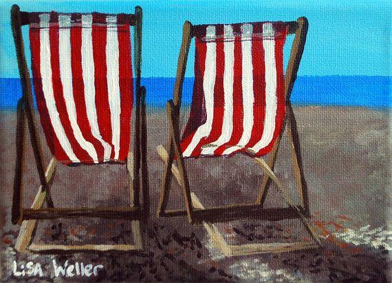 Artista scozzese, sedie a sdraio, pittura, pittura, pittura, seascape artista, pittura originale, Brighton Beach Seascape.