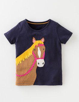 Navy Horse Animal Appliqué T-shirt Boden