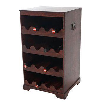 Stojan na 16 fliaš vína Shabby Colonial 66 cm, hnedá | Bonami