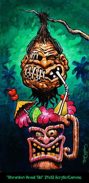"""Shrunken Head Tiki"" 24x12 Original Acrylic on Gallery Wrap Canvas Part of the ""Shrunken Head"" Series"